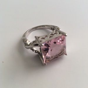 Pink Champagne Crossover Statement Ring Sz 7 NEW